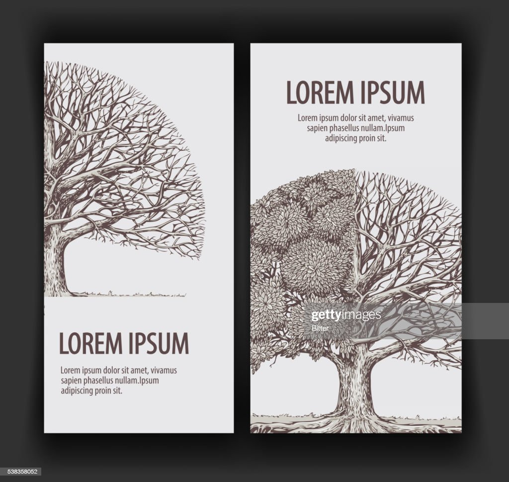 Vintage vector tree. Design template banner ecology, nature, forest