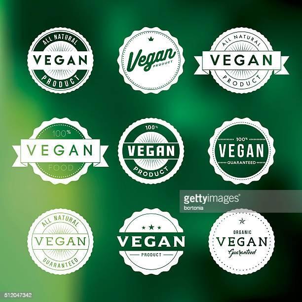 Vintage Vegan Food Labels Icon Set