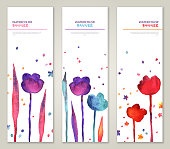 Vintage vertical banners set with watercolor tulips and leaves.