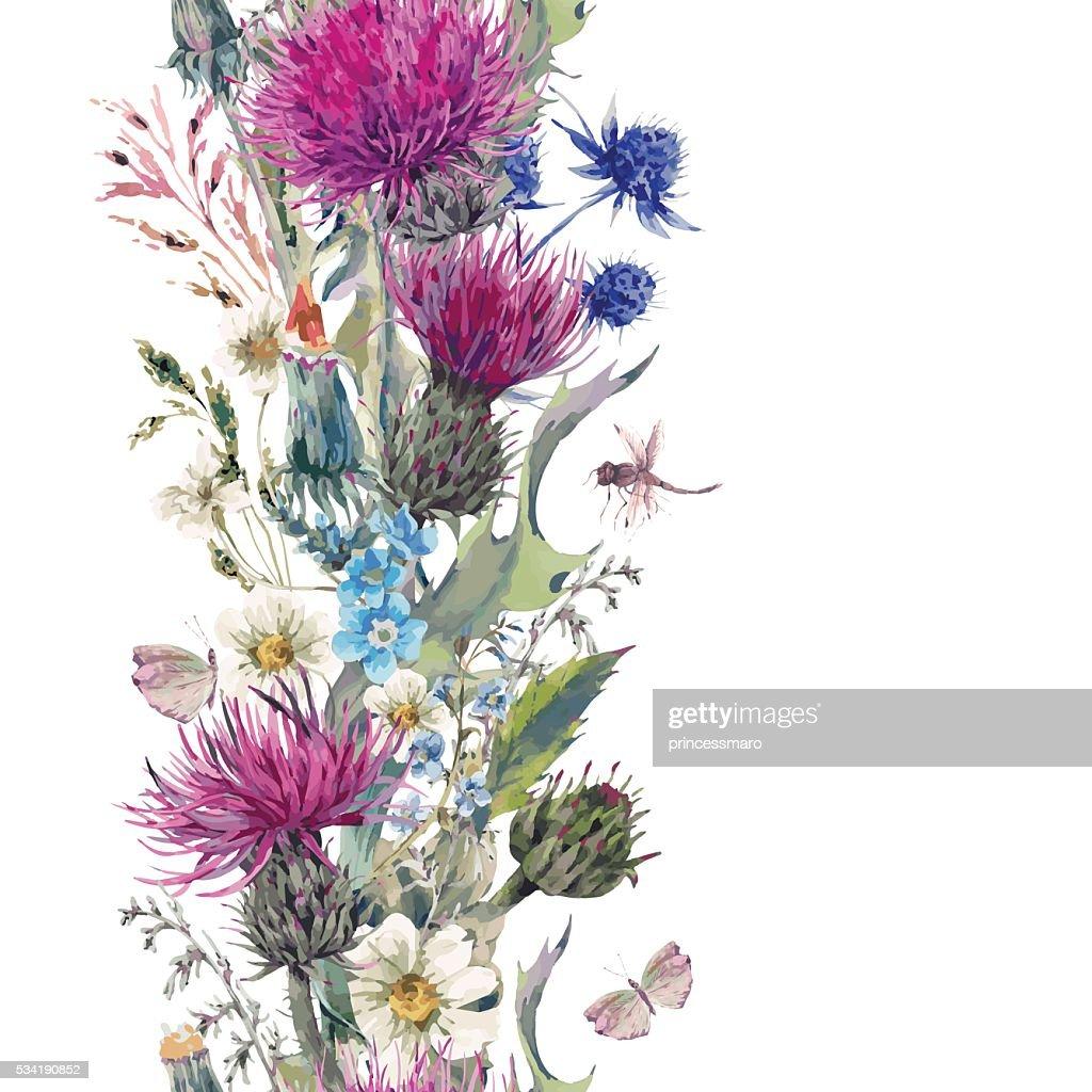 Vintage vertical herbal seamless border with Blooming Meadow Flo