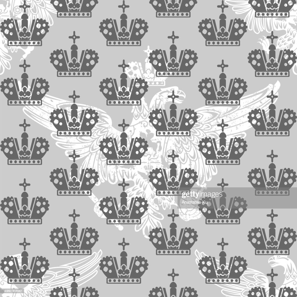 vintage victorian seamless pattern with crowns and eagle