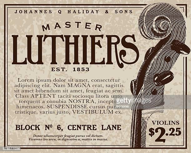 vintage victorian style advertisement - violin stock illustrations, clip art, cartoons, & icons