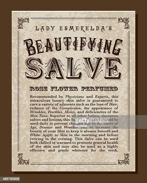 vintage victorian style beautifying salve label - potion stock illustrations