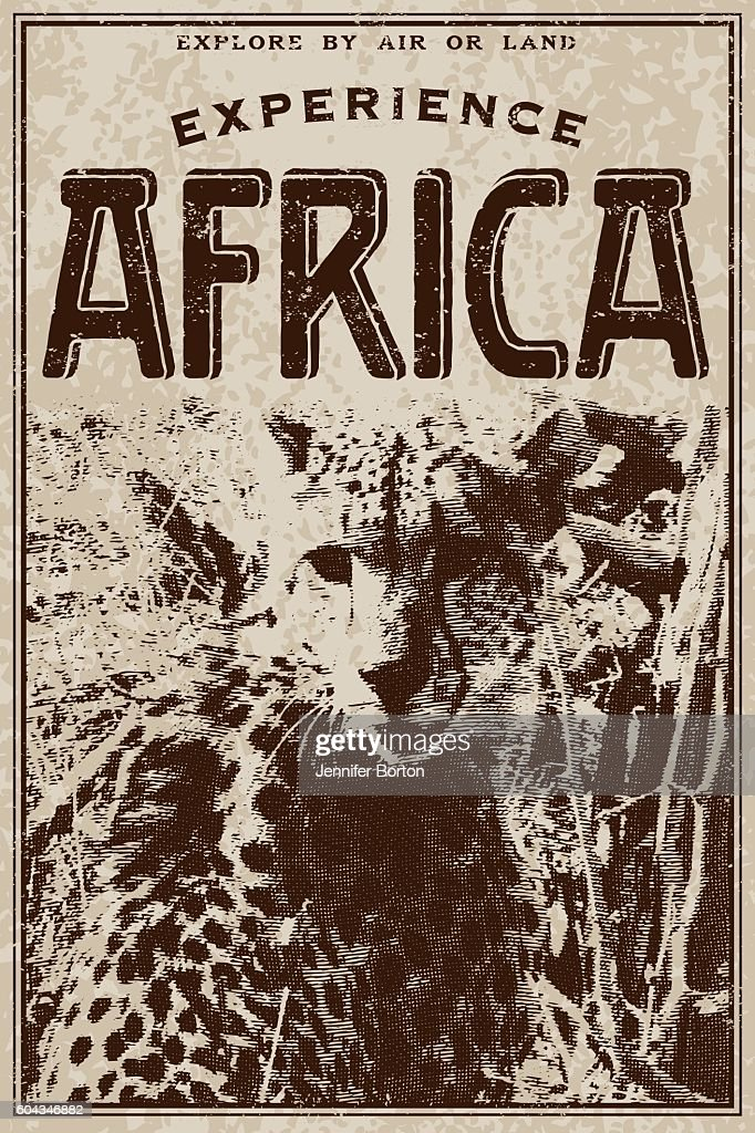 Vintage Victorian Style Classic Experience Africa Advertisement : stock vector