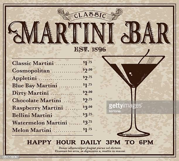 vintage victorian style classic martini bar advertisement - vodka drink stock illustrations, clip art, cartoons, & icons