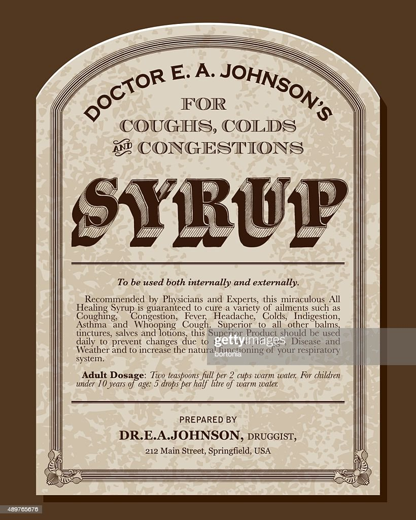 Vintage Victorian Style Cough Syrup Label : stock illustration