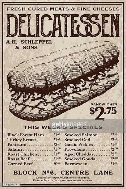 Vintage Victorian Style Delicatessen Advertisement
