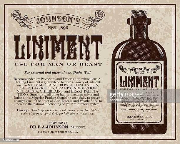 vintage victorian style liniment advertisement - 19. jahrhundert stock-grafiken, -clipart, -cartoons und -symbole