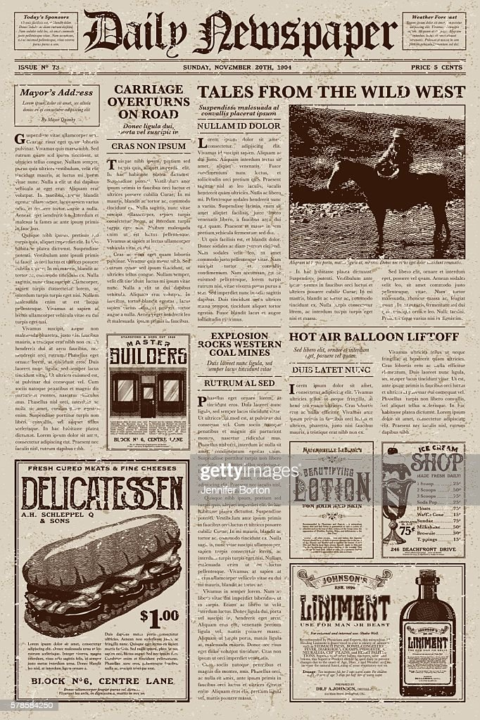Vintage Victorian Style Newspaper Design Template Vector Art Getty