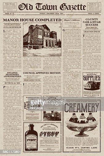 vintage victorian style newspaper design template vector