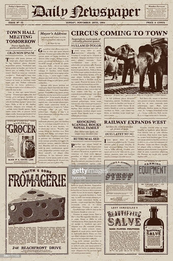 Vintage Victorian Style Newspaper Design Template