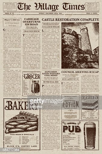Vintage Newspaper Layout Design With Antique Elements Template