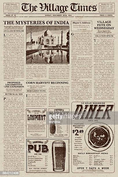 vintage victorian style newspaper design template - victorian stock illustrations