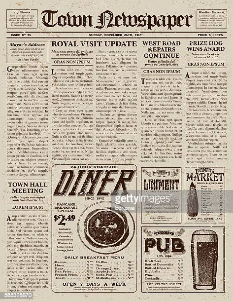 ilustrações, clipart, desenhos animados e ícones de vintage victorian style newspaper design template - jornal