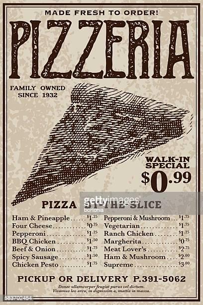 vintage victorian style pizzeria advertisement - menu stock illustrations