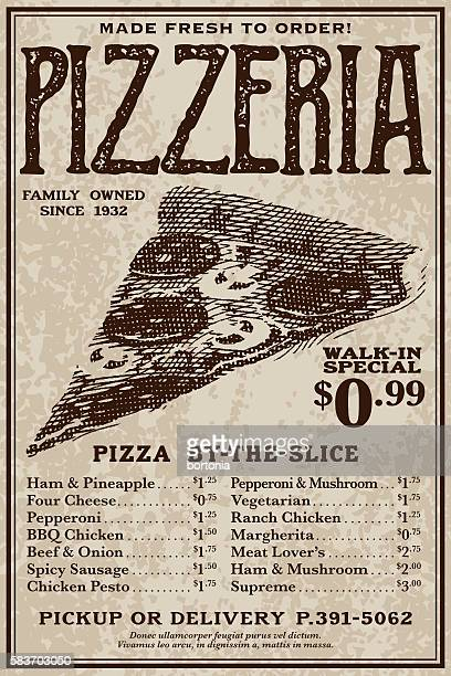 ilustrações de stock, clip art, desenhos animados e ícones de vintage victorian style pizzeria advertisement - pizzaria