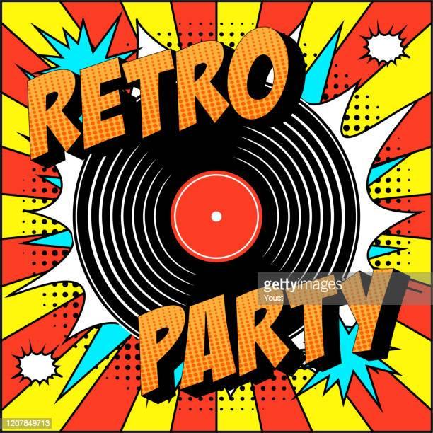 ilustraciones, imágenes clip art, dibujos animados e iconos de stock de vintage vinyl record en explosiones de voz burbuja en estilo pop arte. - música pop