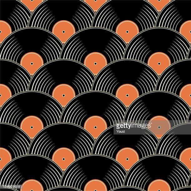 vintage vinyl record seamless pattern - record analog audio stock illustrations