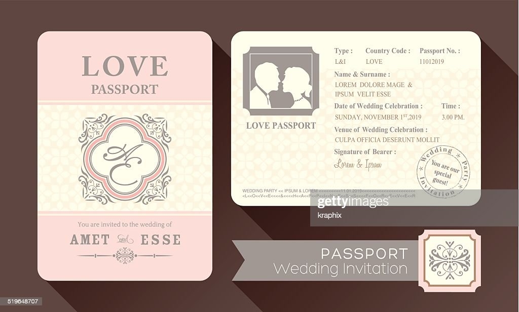 Vintage Visa Passport Wedding Invitation