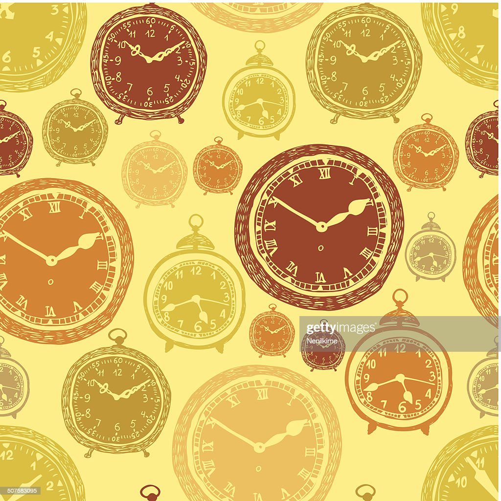 Vintage Wall Clocks And Alarm Clocks Seamless Gold Background Vector ...