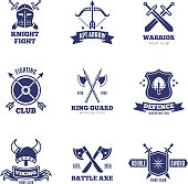 Vintage warrior sword and shield labels. Knight vector badges. Heraldry coat of arms symbols