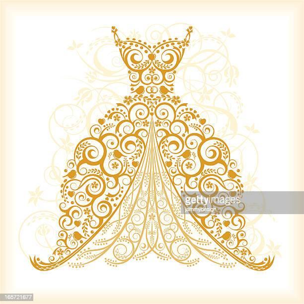 vintage wedding dress - dress stock illustrations