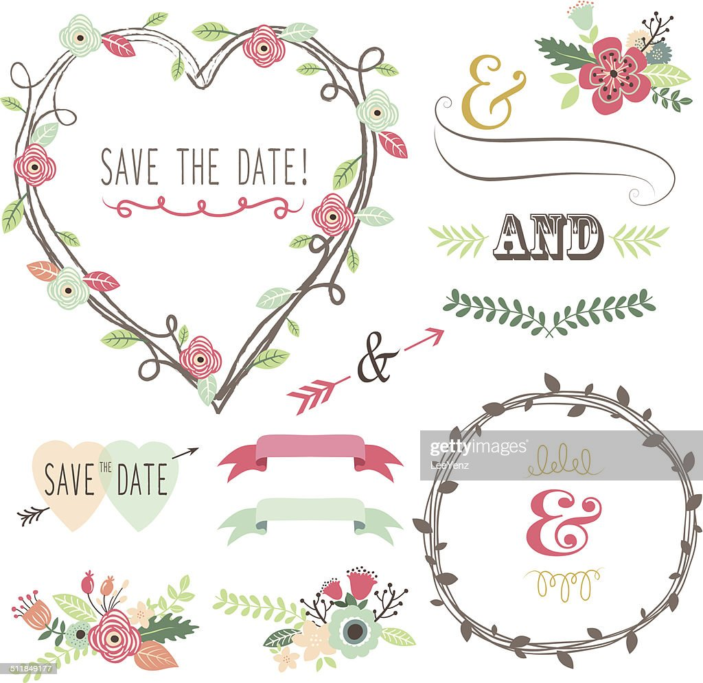 Vintage Wedding Flora Heart Shape- illustrationlements- illustration