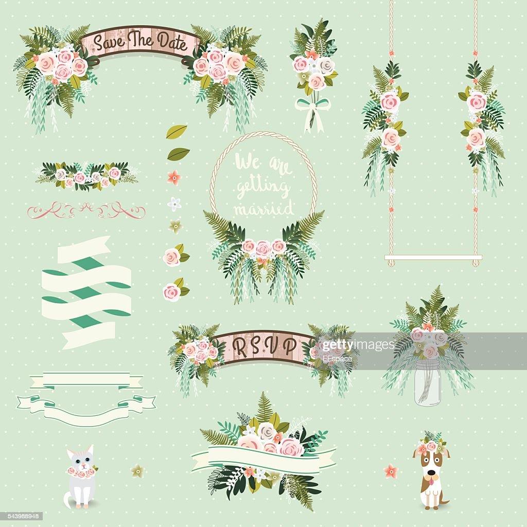 Vintage wedding floral decorative and ornaments set