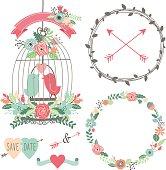 Vintage Wedding Flowers and Birdcage- Illustration