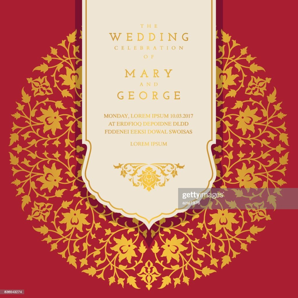 Vintage Wedding Invitation Card Template With Floral Background ...