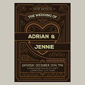 Vintage wedding invitation card. Vector illustation
