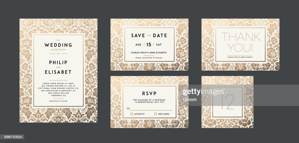 Vintage Wedding Invitation collection. Modern design
