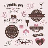 Vintage wedding invitation design graphic elements