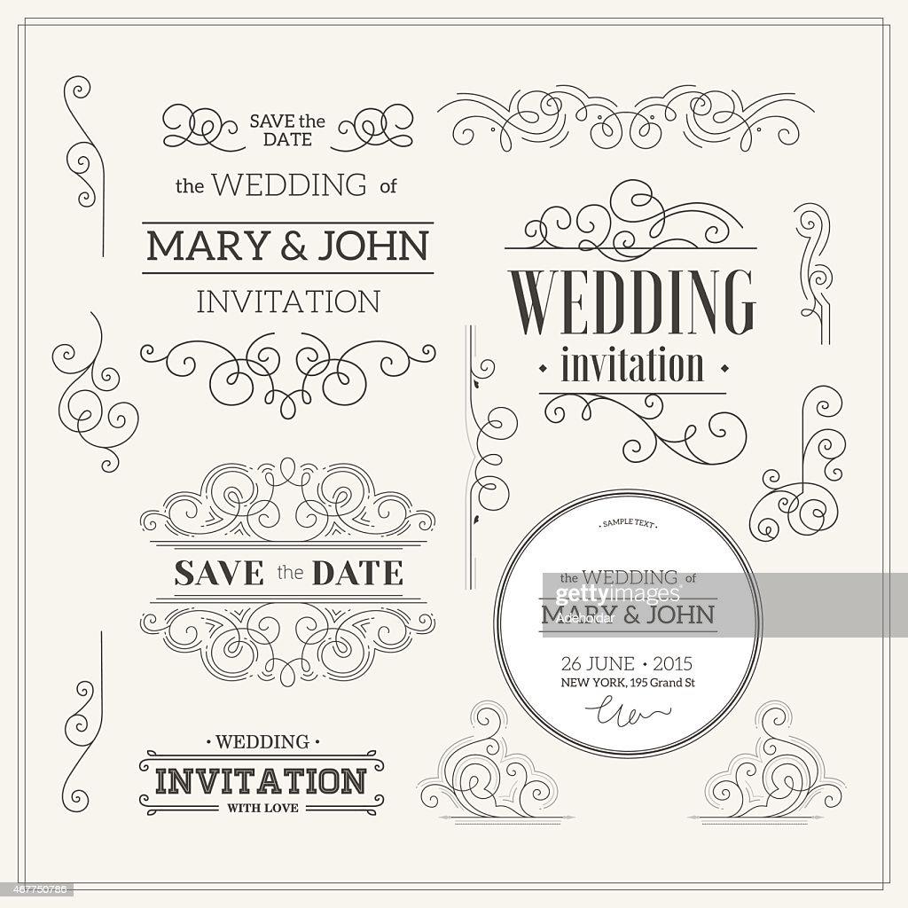 Vintage Wedding invitation design kit. Elements, ornaments, badges, Vector illustration-01
