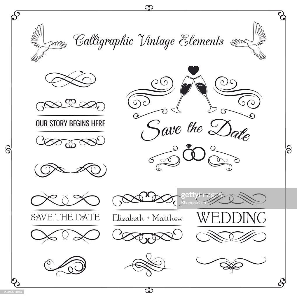 Vintage wedding invitation design kit elements ornaments badges vintage wedding invitation design kit elements ornaments badges stopboris Images