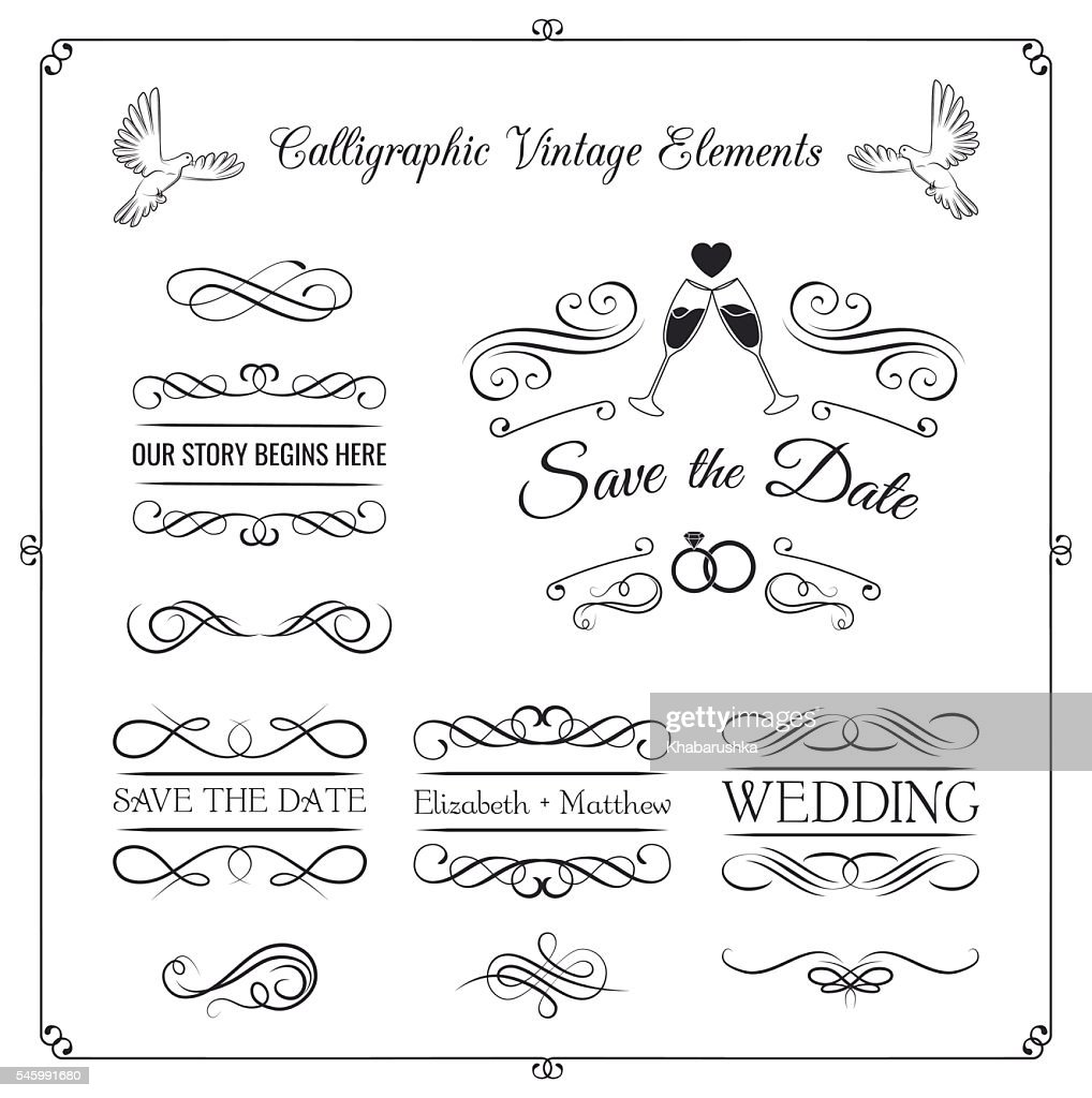 Vintage Wedding invitation design kit. Elements, ornaments, badges