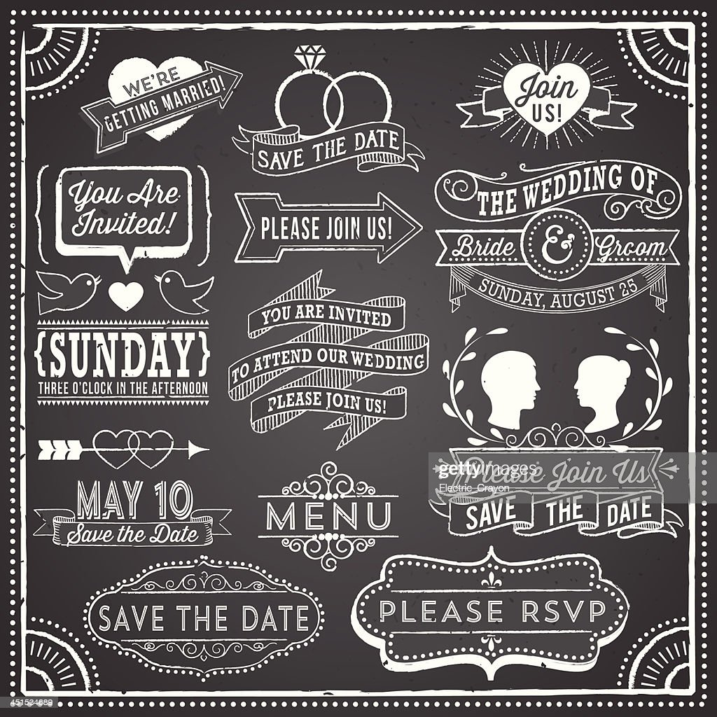 Vintage wedding invitation elements on chalkboard