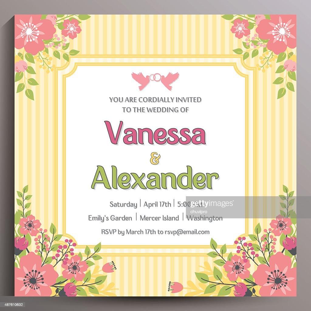 Vintage Wedding Invitation. Floral square card 14.5 cm