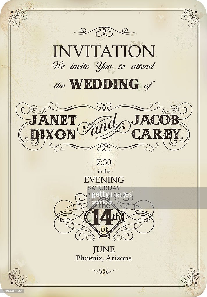Vintage Wedding Invitation Vector Art Getty Images