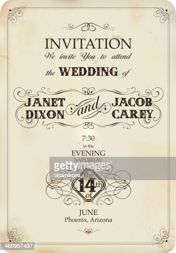 Vintage wedding invitation vector art getty images keywords stopboris Images