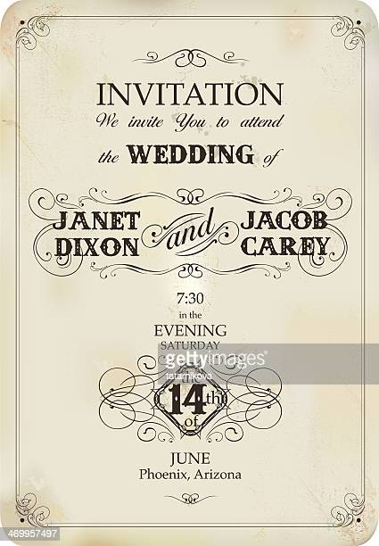vintage wedding invitation - antique stock illustrations