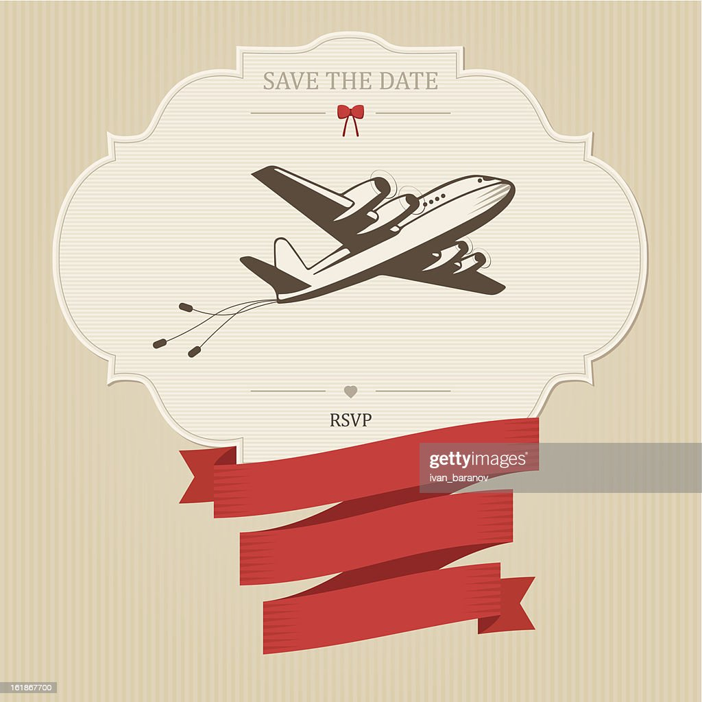 Vintage wedding invitation with retro aircraft