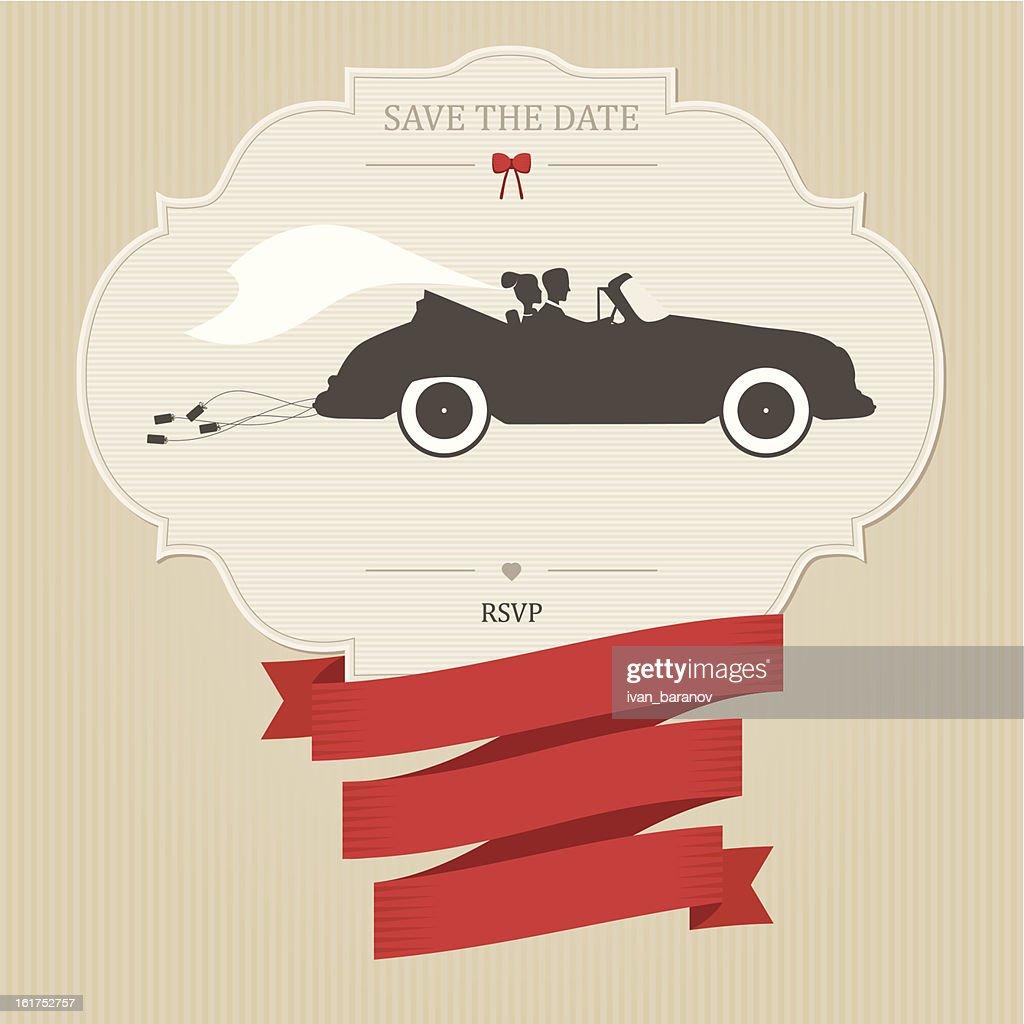 Vintage wedding invitation with retro car dragging cans