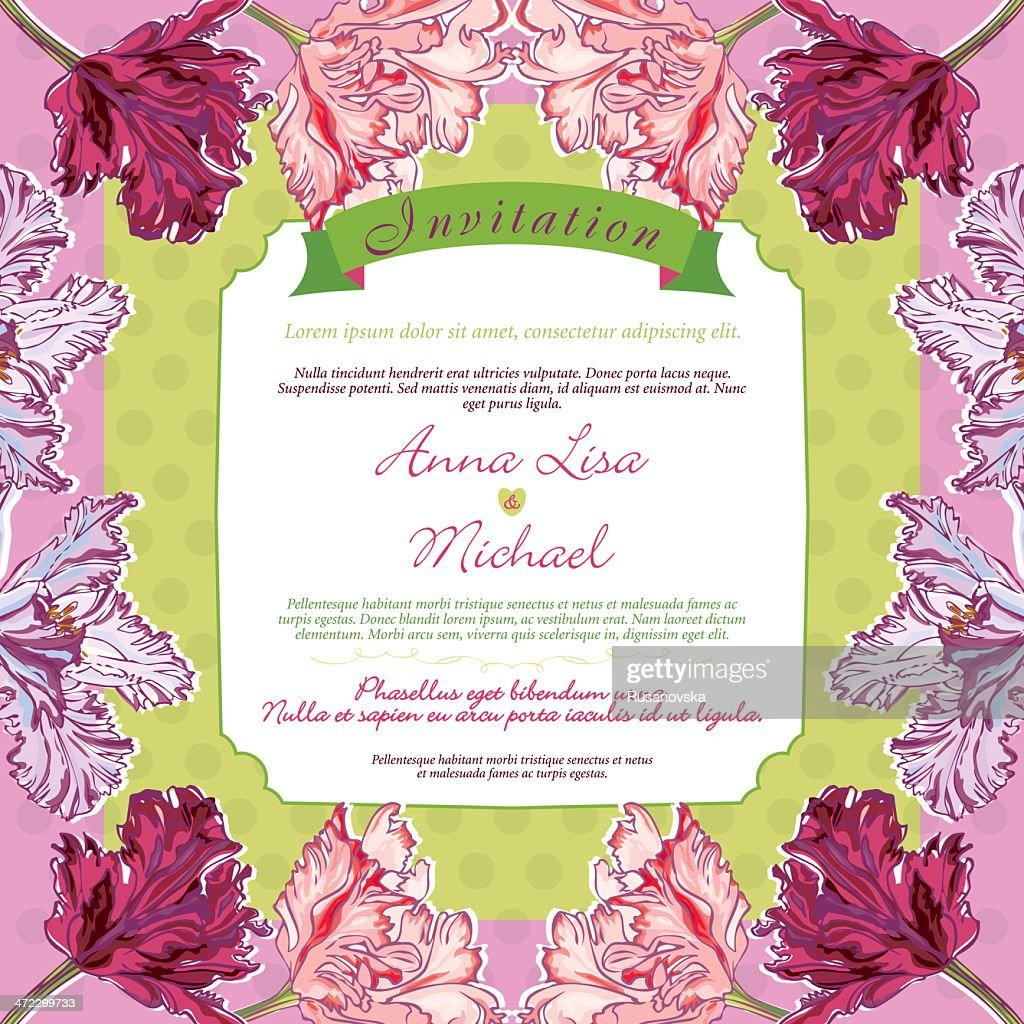 Vintage Wedding Invitation With Tulips Vector Art | Getty Images