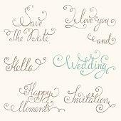 Vintage wedding lettering set
