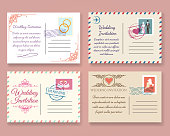 Vintage wedding postcard templates