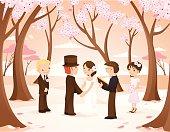 Vintage Wedding Scene in Cherry Blossom Forest