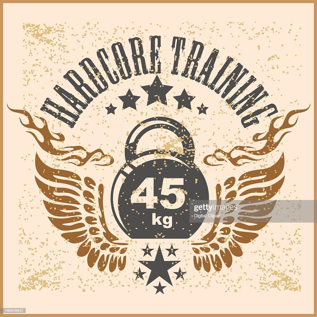 Vintage weight sign on grunge background - vector emblem