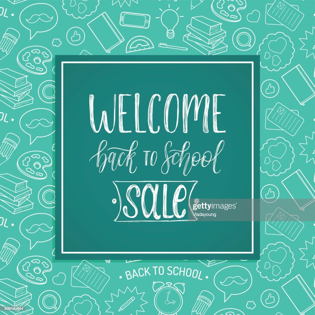 Vintage Welcome Back To School Sale poster. Vector hand lettering in frame. Knowledge day design concept.