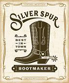 Vintage Western Bootmaker Label Graphics